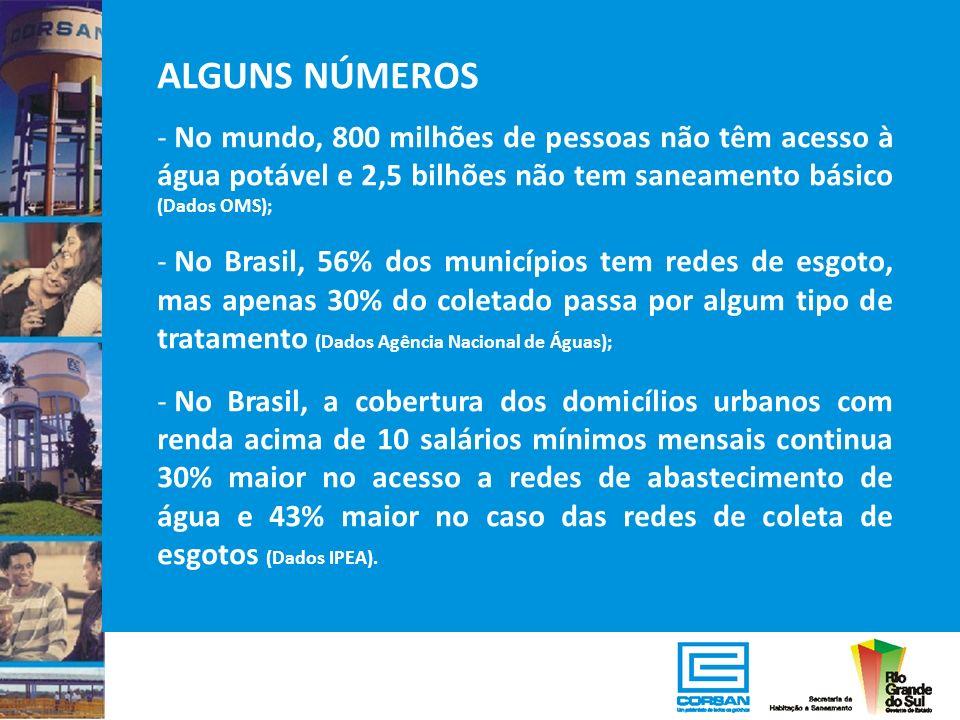 ALGUNS NÚMEROS - No mundo, 800 milhões de pessoas não têm acesso à água potável e 2,5 bilhões não tem saneamento básico (Dados OMS); - No Brasil, 56%