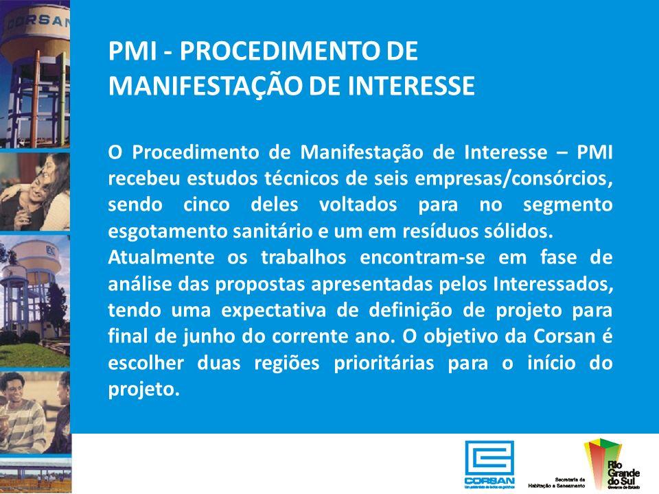 PMI - PROCEDIMENTO DE MANIFESTAÇÃO DE INTERESSE O Procedimento de Manifestação de Interesse – PMI recebeu estudos técnicos de seis empresas/consórcios