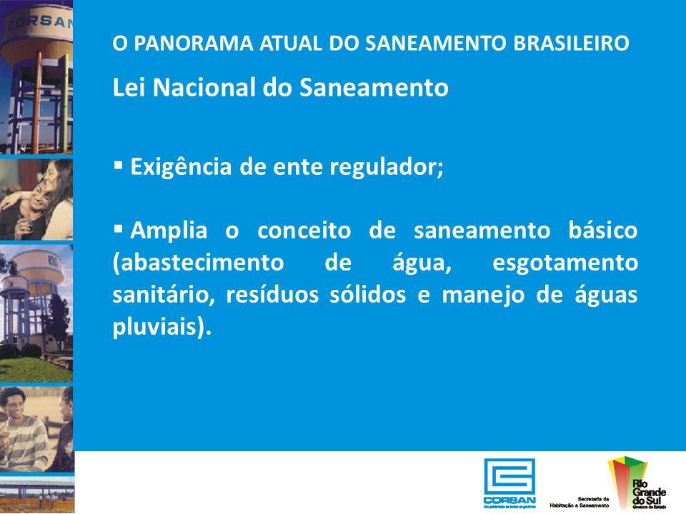 O PANORAMA ATUAL DO SANEAMENTO BRASILEIRO Lei Nacional do Saneamento Exigência de ente regulador; Amplia o conceito de saneamento básico (abasteciment