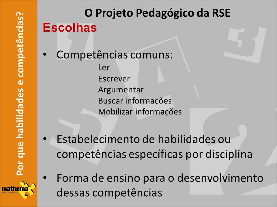 Por que habilidades e competências? O Projeto Pedagógico da RSE Escolhas Competências comuns: Ler Escrever Argumentar Buscar informações Mobilizar inf