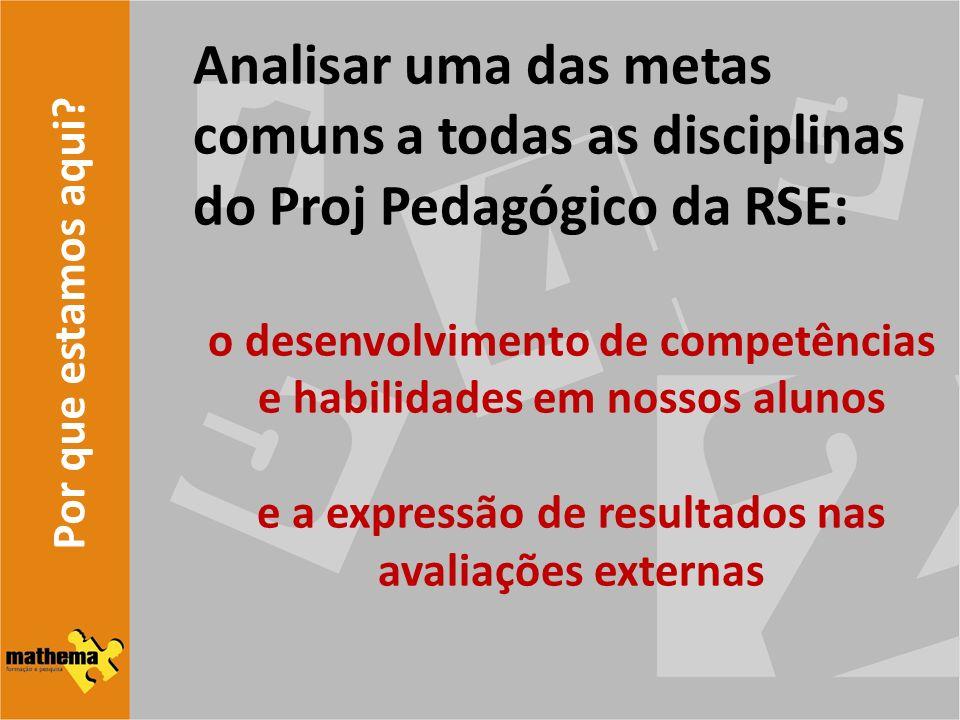 Por que estamos aqui? Analisar uma das metas comuns a todas as disciplinas do Proj Pedagógico da RSE: o desenvolvimento de competências e habilidades