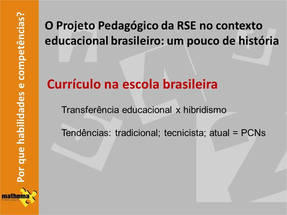 Por que habilidades e competências? O Projeto Pedagógico da RSE no contexto educacional brasileiro: um pouco de história Currículo na escola brasileir