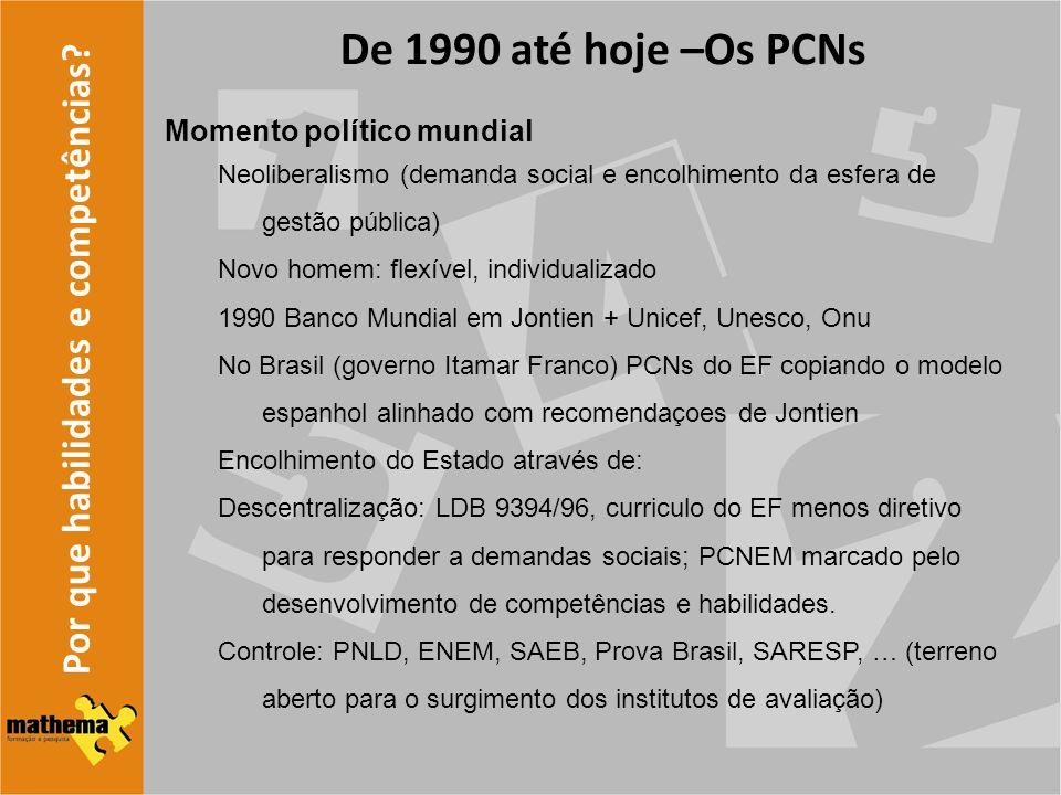 Por que habilidades e competências? De 1990 até hoje –Os PCNs Momento político mundial Neoliberalismo (demanda social e encolhimento da esfera de gest