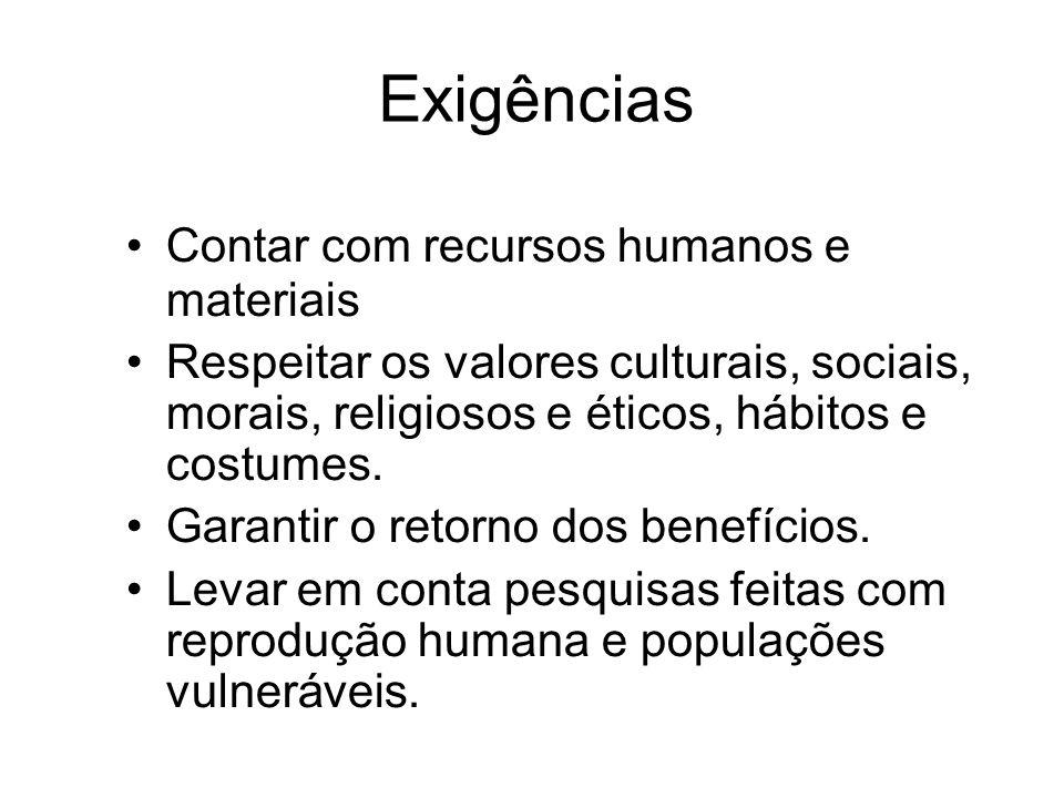 Exigências Contar com recursos humanos e materiais Respeitar os valores culturais, sociais, morais, religiosos e éticos, hábitos e costumes. Garantir