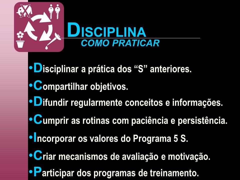 D isciplinar a prática dos S anteriores. C ompartilhar objetivos. COMO PRATICAR D ifundir regularmente conceitos e informações. I ncorporar os valores