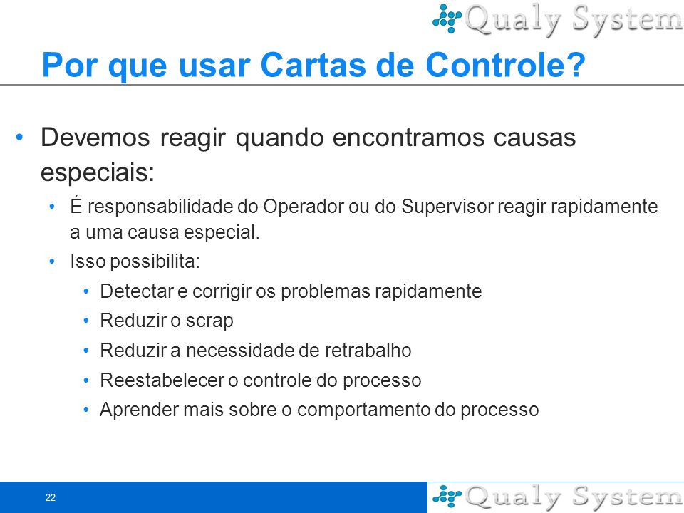 22 Por que usar Cartas de Controle? Devemos reagir quando encontramos causas especiais: É responsabilidade do Operador ou do Supervisor reagir rapidam