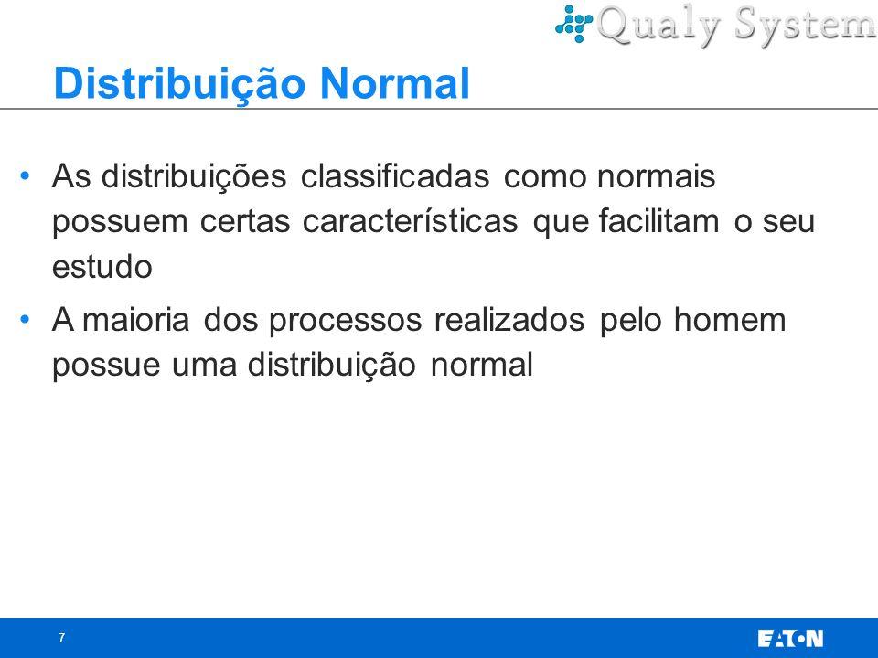 7 Distribuição Normal As distribuições classificadas como normais possuem certas características que facilitam o seu estudo A maioria dos processos re