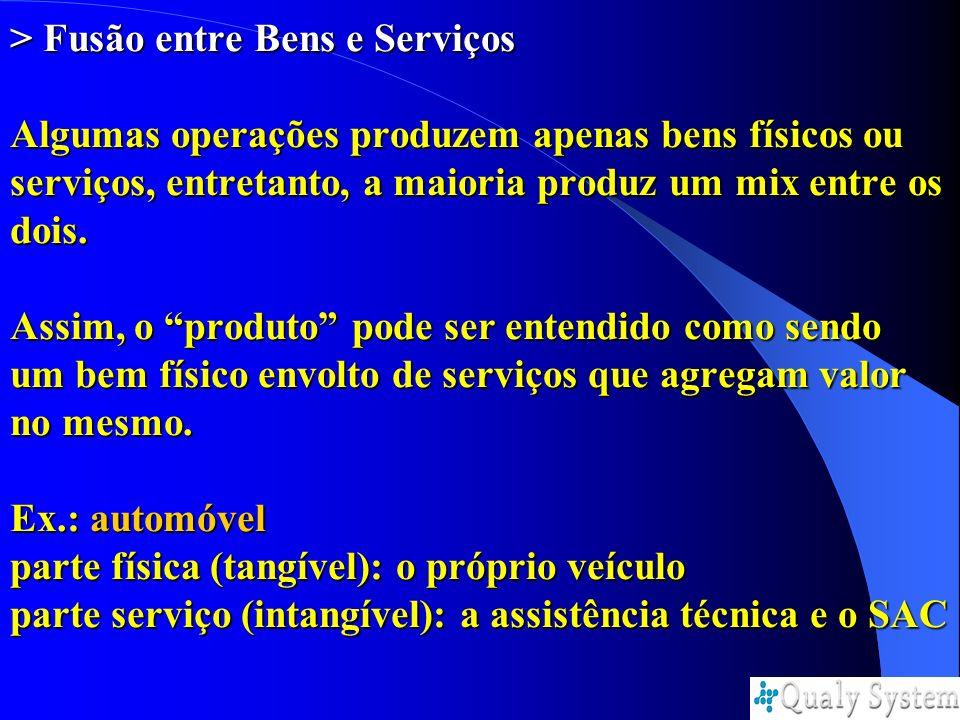 > Fusão entre Bens e Serviços Algumas operações produzem apenas bens físicos ou serviços, entretanto, a maioria produz um mix entre os dois. Assim, o