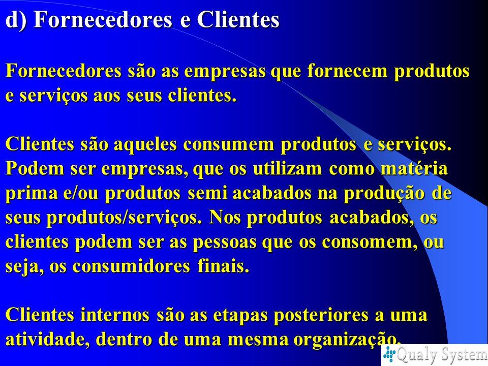 d) Fornecedores e Clientes Fornecedores são as empresas que fornecem produtos e serviços aos seus clientes. Clientes são aqueles consumem produtos e s