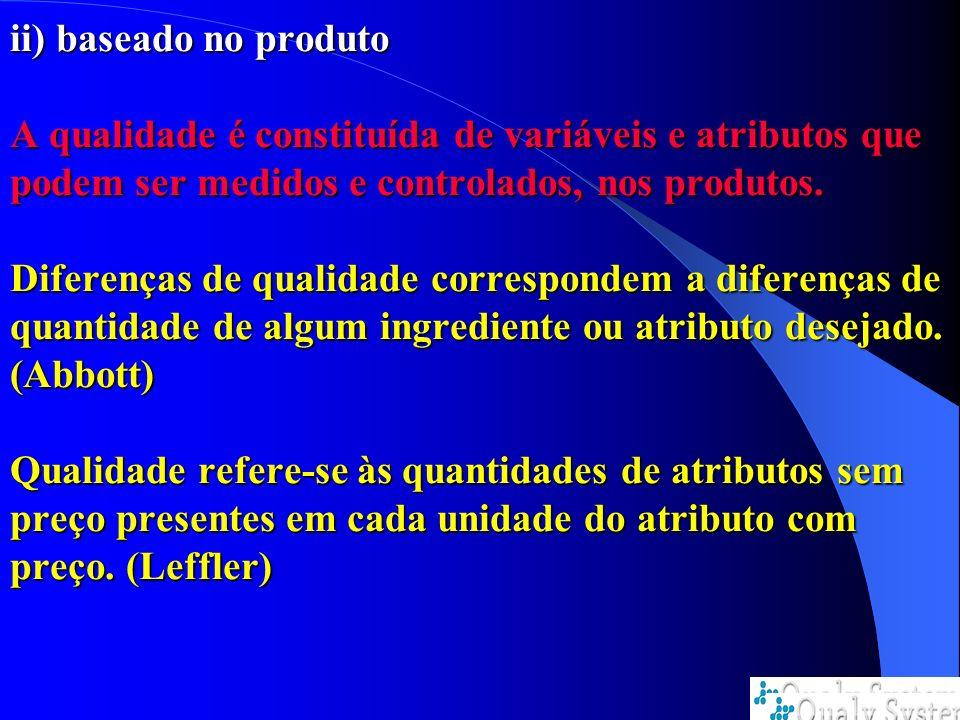 ii) baseado no produto A qualidade é constituída de variáveis e atributos que podem ser medidos e controlados, nos produtos. Diferenças de qualidade c