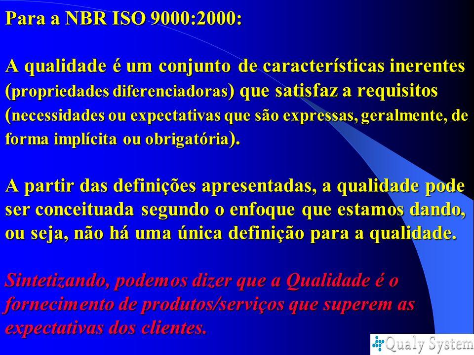 Para a NBR ISO 9000:2000: A qualidade é um conjunto de características inerentes ( propriedades diferenciadoras ) que satisfaz a requisitos ( necessid
