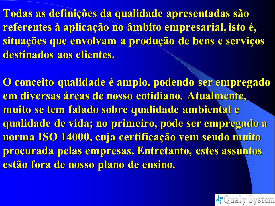 Todas as definições da qualidade apresentadas são referentes à aplicação no âmbito empresarial, isto é, situações que envolvam a produção de bens e se