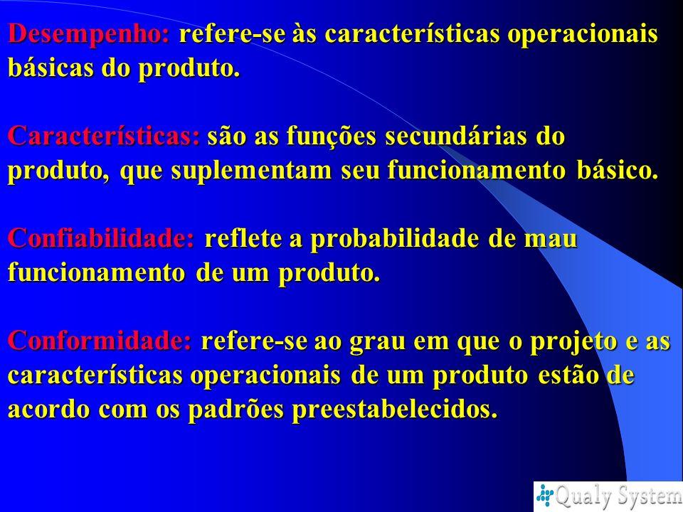 Desempenho: refere-se às características operacionais básicas do produto. Características: são as funções secundárias do produto, que suplementam seu