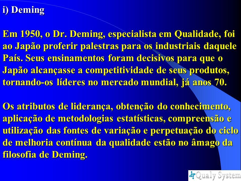 i) Deming Em 1950, o Dr. Deming, especialista em Qualidade, foi ao Japão proferir palestras para os industriais daquele País. Seus ensinamentos foram