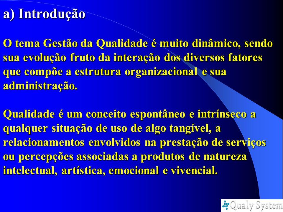 a) Introdução O tema Gestão da Qualidade é muito dinâmico, sendo sua evolução fruto da interação dos diversos fatores que compõe a estrutura organizac