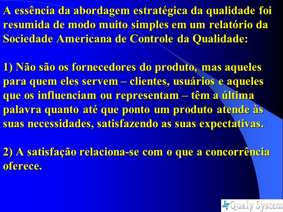 A essência da abordagem estratégica da qualidade foi resumida de modo muito simples em um relatório da Sociedade Americana de Controle da Qualidade: 1