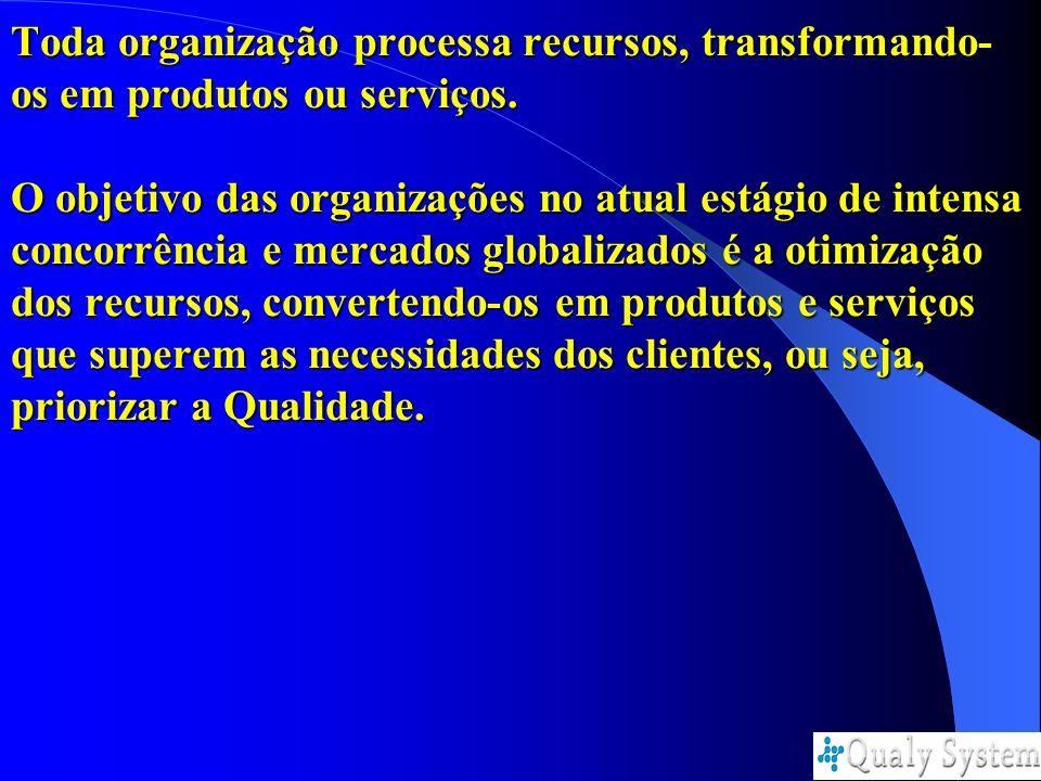 Toda organização processa recursos, transformando- os em produtos ou serviços. O objetivo das organizações no atual estágio de intensa concorrência e
