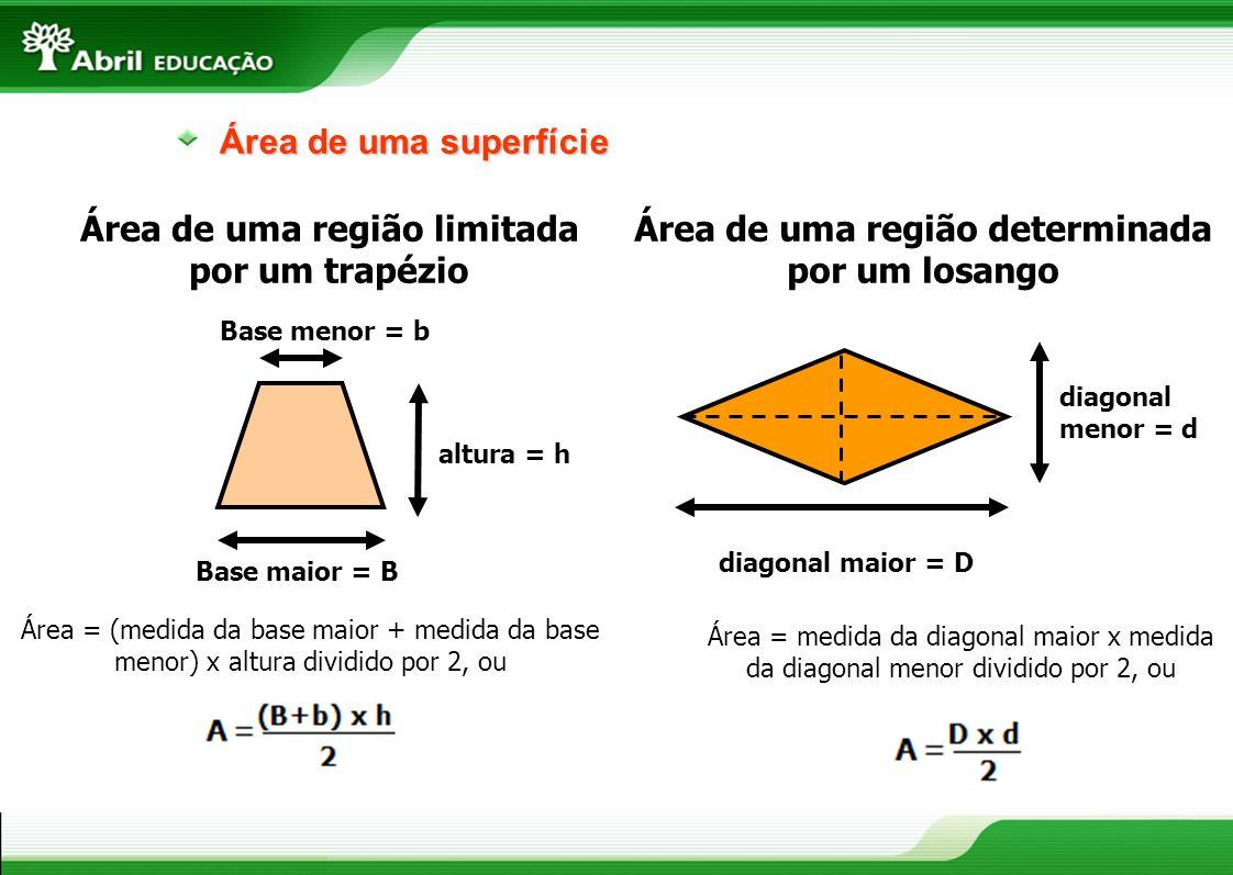 Área de uma superfície diagonal menor = d diagonal maior = D Área = medida da diagonal maior x medida da diagonal menor dividido por 2, ou Área de uma