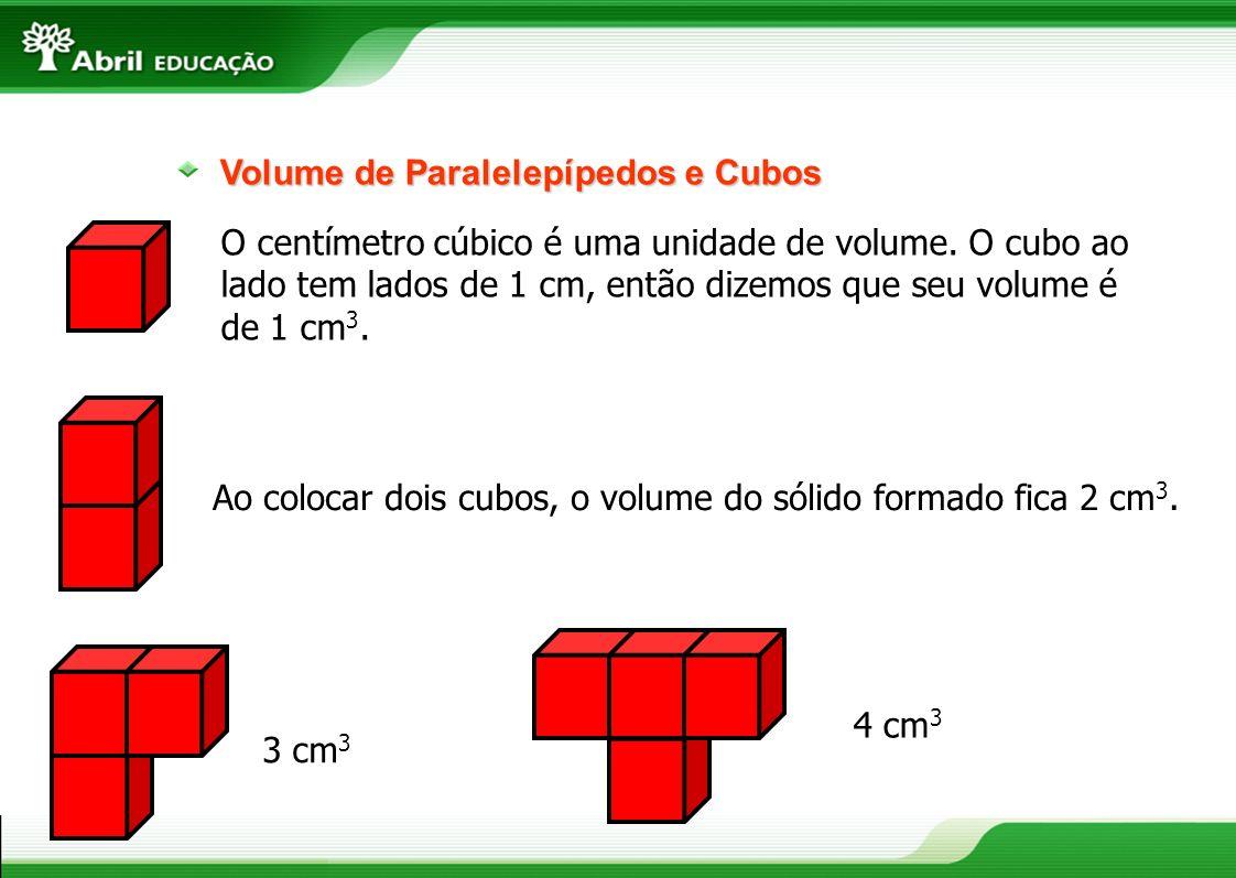 O centímetro cúbico é uma unidade de volume. O cubo ao lado tem lados de 1 cm, então dizemos que seu volume é de 1 cm 3. Volume de Paralelepípedos e C