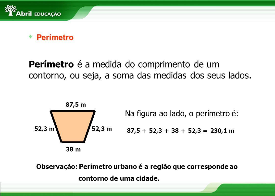 Perímetro Perímetro é a medida do comprimento de um contorno, ou seja, a soma das medidas dos seus lados. 52,3 m 87,5 m 38 m Na figura ao lado, o perí