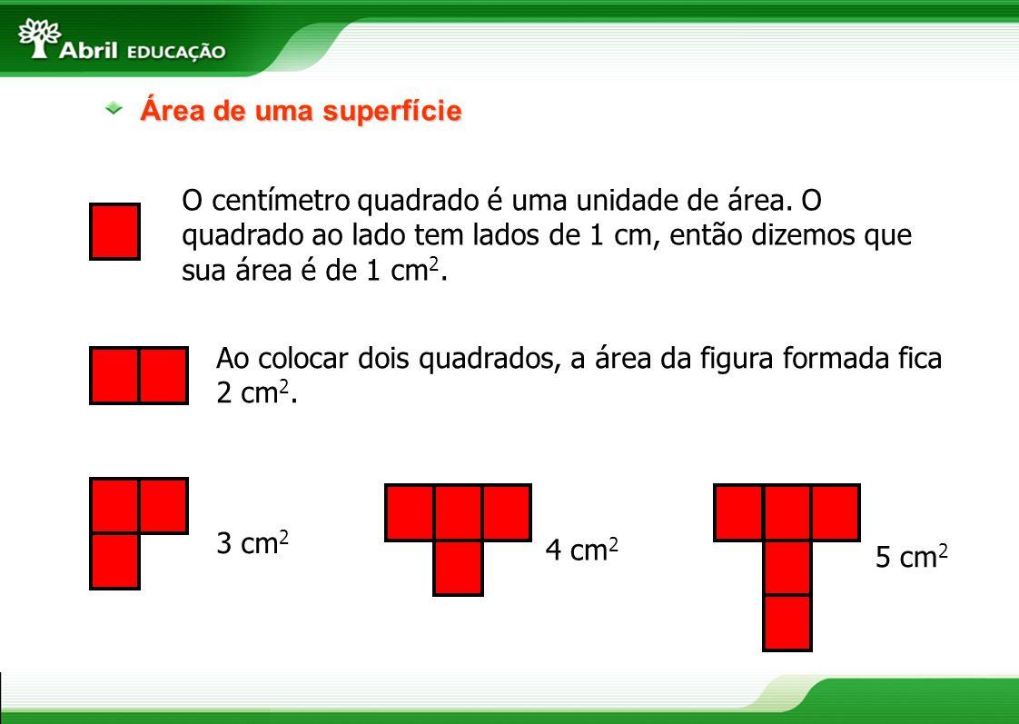 Área de uma superfície O centímetro quadrado é uma unidade de área. O quadrado ao lado tem lados de 1 cm, então dizemos que sua área é de 1 cm 2. Ao c