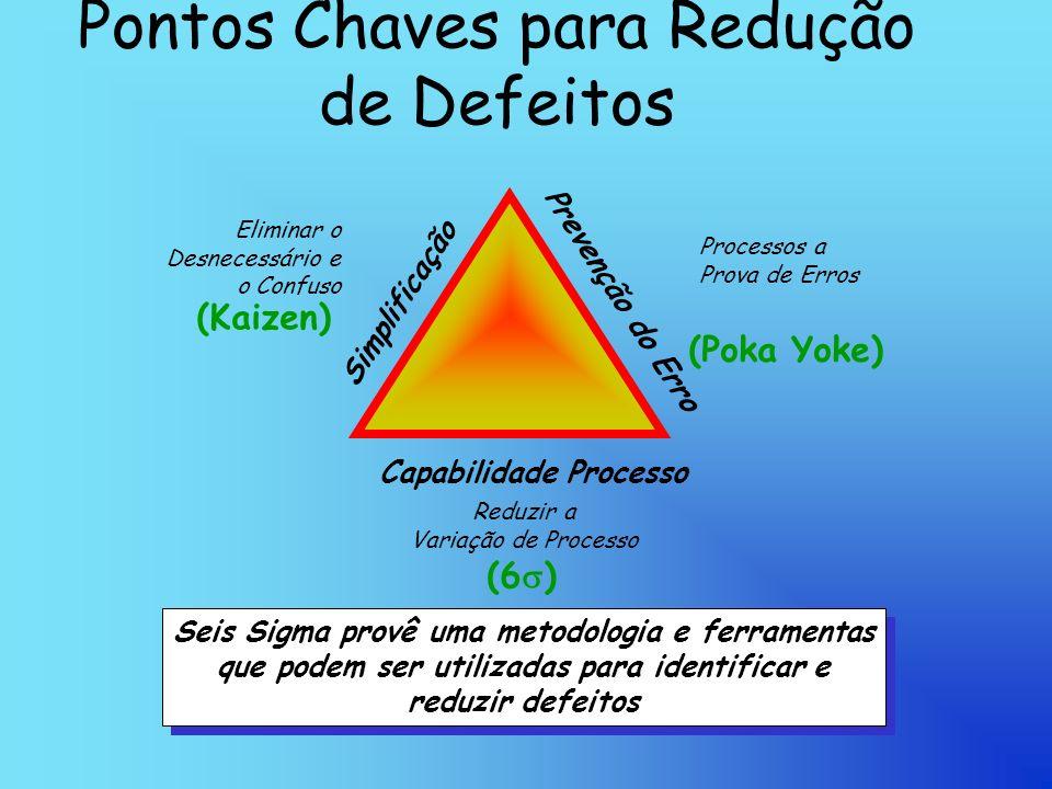 Pontos Chaves para Redução de Defeitos Seis Sigma provê uma metodologia e ferramentas que podem ser utilizadas para identificar e reduzir defeitos Seis Sigma provê uma metodologia e ferramentas que podem ser utilizadas para identificar e reduzir defeitos Capabilidade Processo Simplificação Prevenção do Erro Reduzir a Variação de Processo Processos a Prova de Erros Eliminar o Desnecessário e o Confuso (Kaizen) (Poka Yoke) (6 )