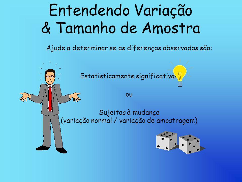 Entendendo Variação & Tamanho de Amostra Ajude a determinar se as diferenças observadas são: Estatísticamente significativas ou Sujeitas à mudança (variação normal / variação de amostragem)
