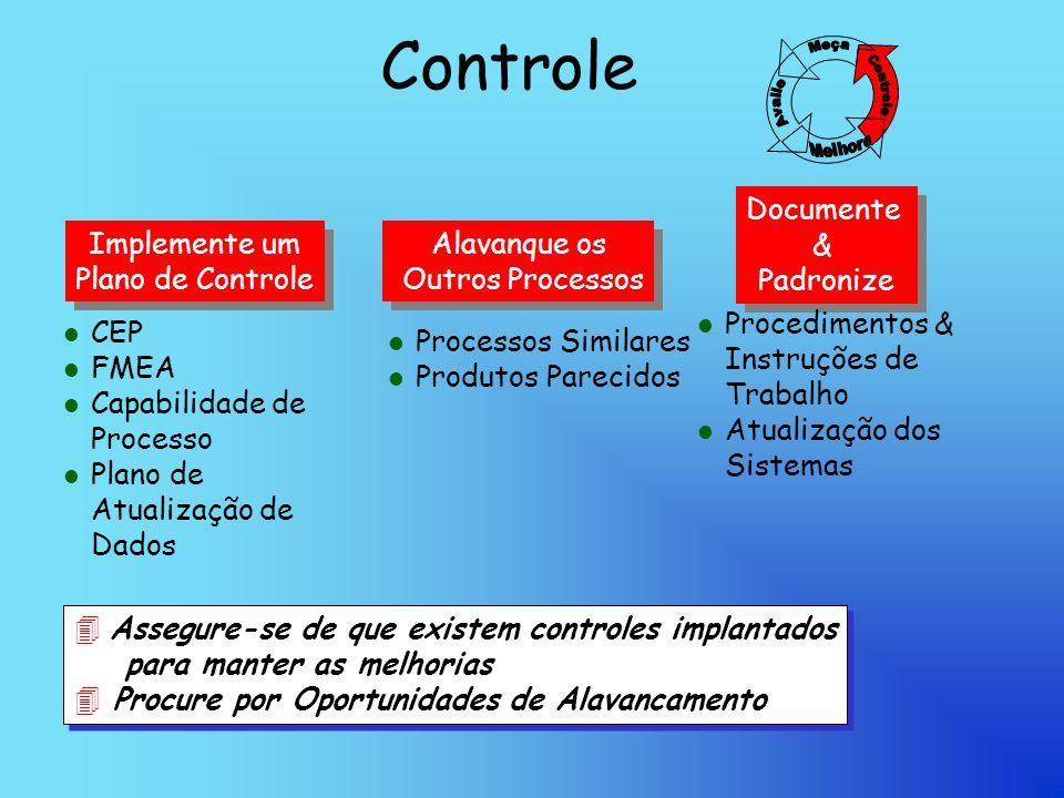Controle Implemente um Plano de Controle Implemente um Plano de Controle Alavanque os Outros Processos Alavanque os Outros Processos Documente & Padronize Documente & Padronize lClCEP lFlFMEA lClCapabilidade de Processo lPlPlano de Atualização de Dados lPlProcessos Similares lPlProdutos Parecidos lPlProcedimentos & Instruções de Trabalho lAlAtualização dos Sistemas 4 Assegure-se de que existem controles implantados para manter as melhorias 4 Procure por Oportunidades de Alavancamento 4 A4 Assegure-se de que existem controles implantados para manter as melhorias 4 Procure por Oportunidades de Alavancamento