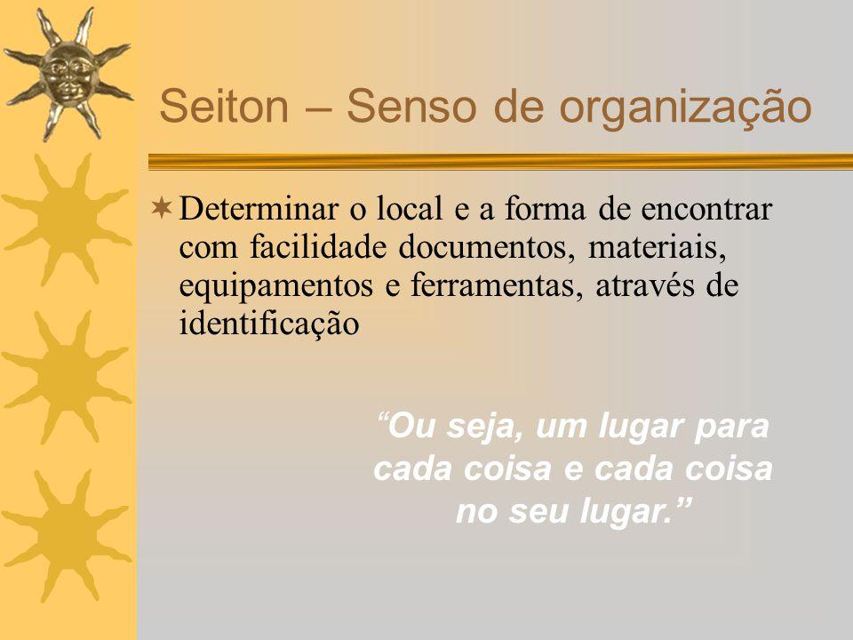Determinar o local e a forma de encontrar com facilidade documentos, materiais, equipamentos e ferramentas, através de identificação Seiton – Senso de