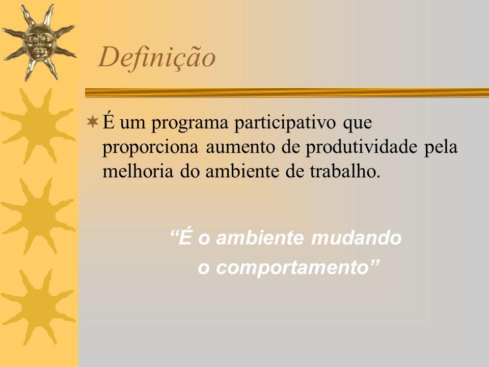 Definição É um programa participativo que proporciona aumento de produtividade pela melhoria do ambiente de trabalho. É o ambiente mudando o comportam