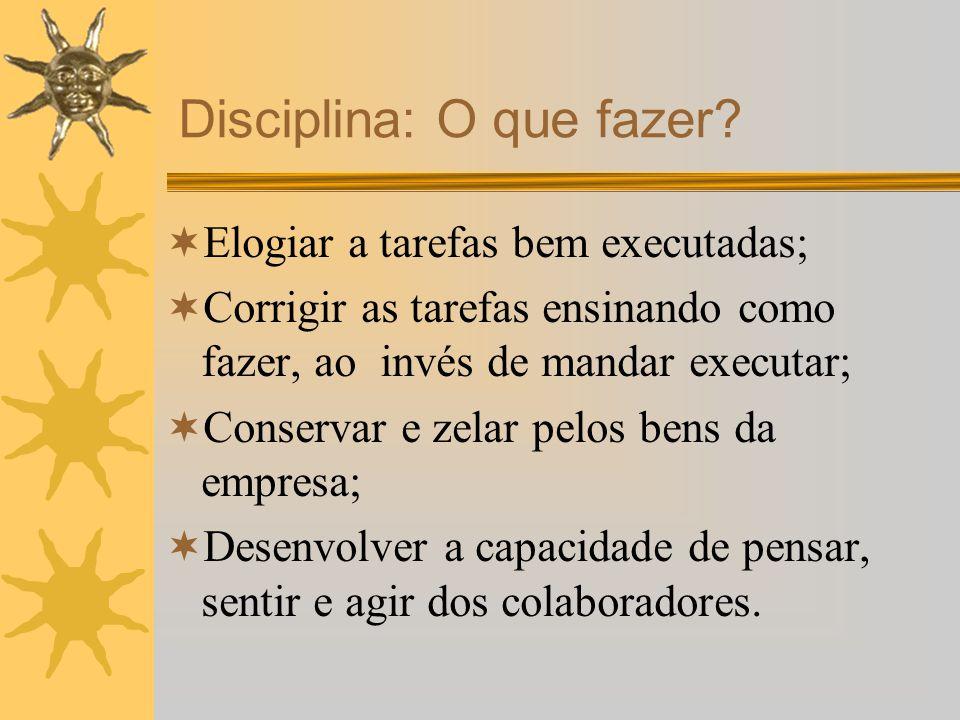 Elogiar a tarefas bem executadas; Corrigir as tarefas ensinando como fazer, ao invés de mandar executar; Conservar e zelar pelos bens da empresa; Dese