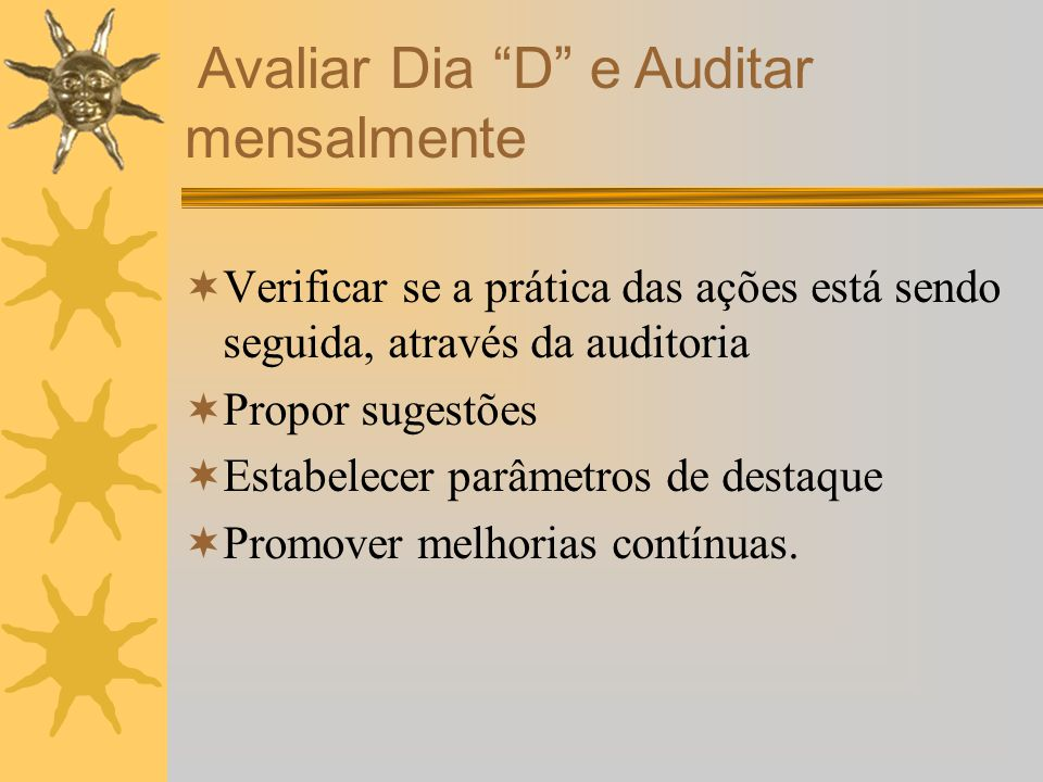 Avaliar Dia D e Auditar mensalmente Verificar se a prática das ações está sendo seguida, através da auditoria Propor sugestões Estabelecer parâmetros