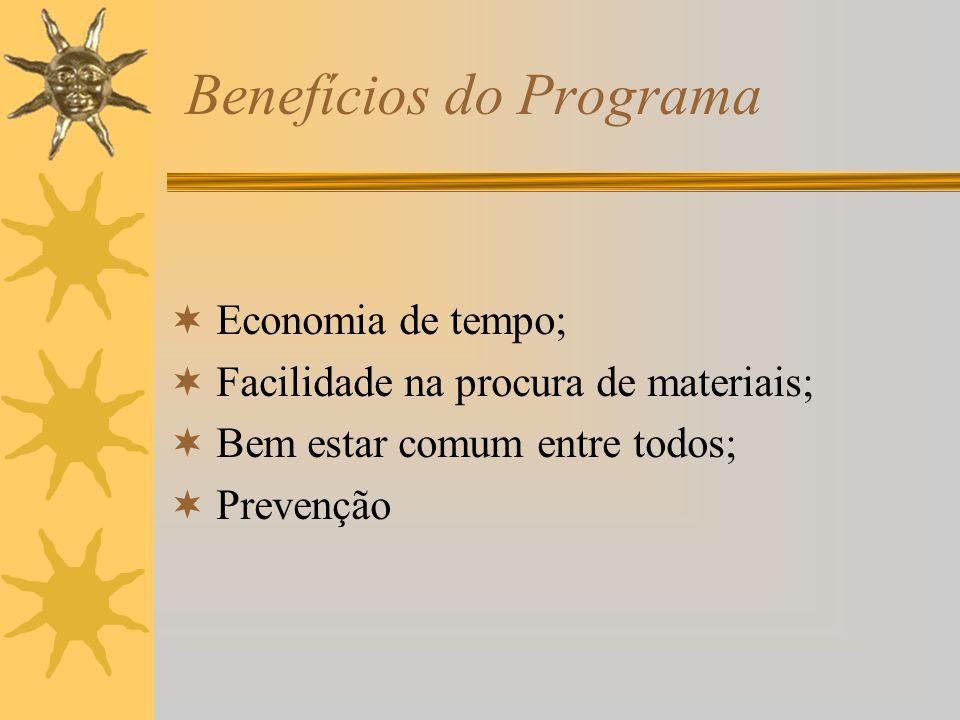 Benefícios do Programa Economia de tempo; Facilidade na procura de materiais; Bem estar comum entre todos; Prevenção