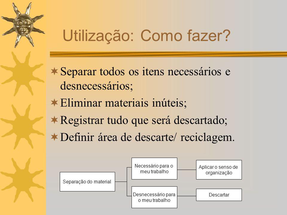 Separar todos os itens necessários e desnecessários; Eliminar materiais inúteis; Registrar tudo que será descartado; Definir área de descarte/ recicla