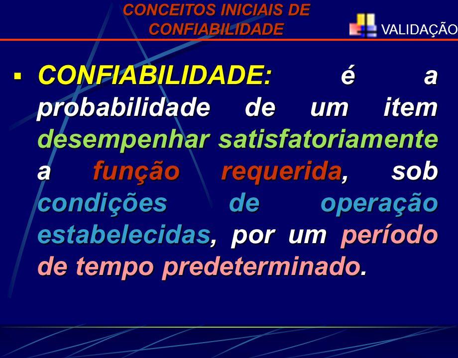 VALIDAÇÃO CONFIABILIDADE: é a probabilidade de um item desempenhar satisfatoriamente a função requerida, sob condições de operação estabelecidas, por