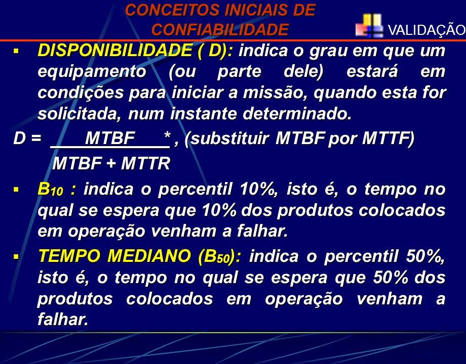 VALIDAÇÃO 300h3h MTBF MTTR 290h2h MTBF MTTR 310h4h MTBF FUNCIONAMENTO DE UMA MÁQUINA FUNCIONAMENTO DE UMA MÁQUINA D = MTBF = 300 = 99,01% MTBF + MTTR 303 MTBF + MTTR 303 MTTR CONCEITOS INICIAIS DE CONFIABILIDADE