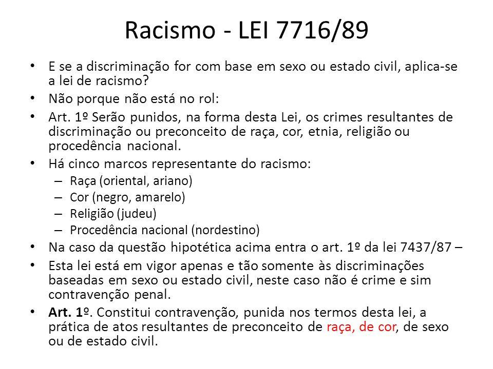 Racismo - LEI 7716/89 E se a discriminação for com base em sexo ou estado civil, aplica-se a lei de racismo? Não porque não está no rol: Art. 1º Serão