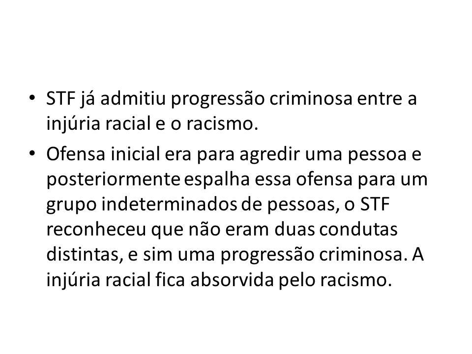 STF já admitiu progressão criminosa entre a injúria racial e o racismo. Ofensa inicial era para agredir uma pessoa e posteriormente espalha essa ofens