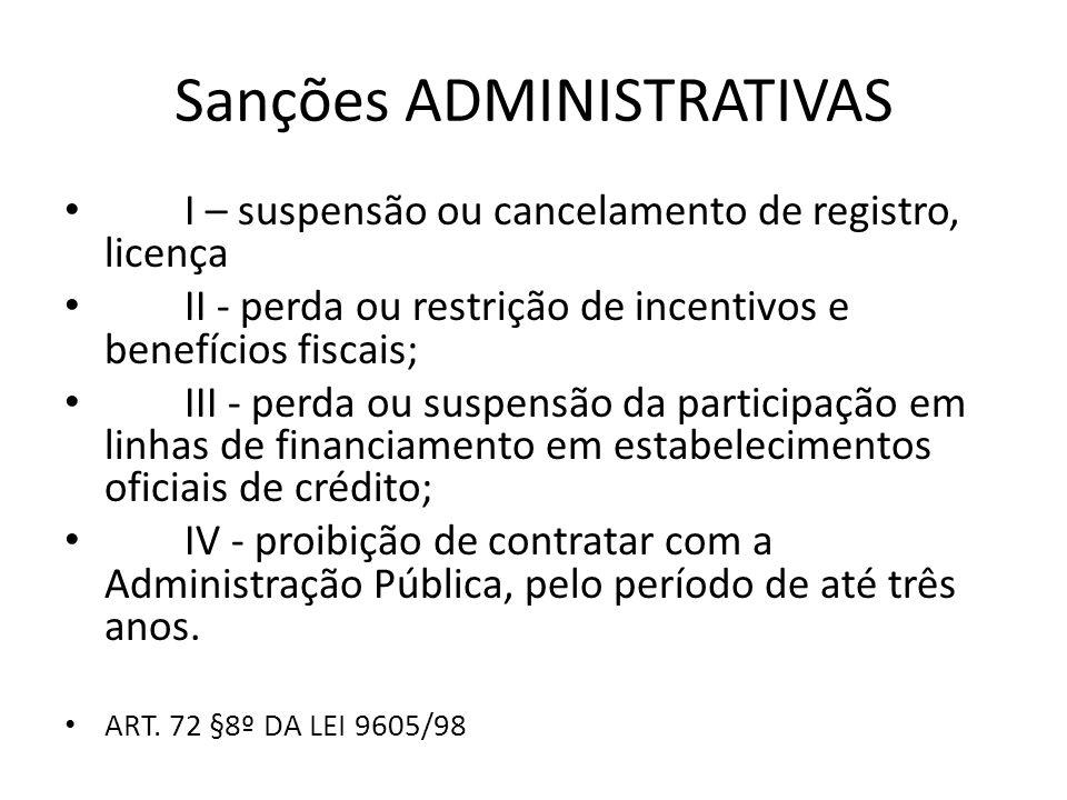 Sanções ADMINISTRATIVAS I – suspensão ou cancelamento de registro, licença II - perda ou restrição de incentivos e benefícios fiscais; III - perda ou