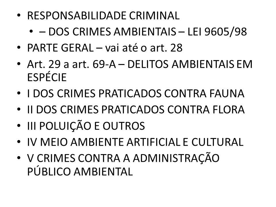 RESPONSABILIDADE CRIMINAL – DOS CRIMES AMBIENTAIS – LEI 9605/98 PARTE GERAL – vai até o art. 28 Art. 29 a art. 69-A – DELITOS AMBIENTAIS EM ESPÉCIE I