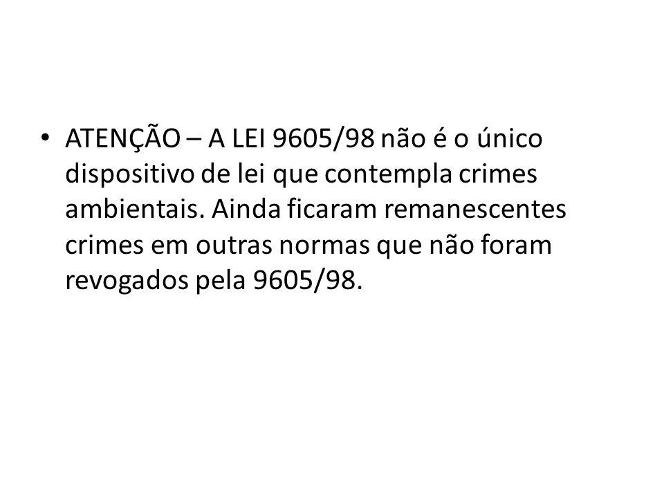 ATENÇÃO – A LEI 9605/98 não é o único dispositivo de lei que contempla crimes ambientais. Ainda ficaram remanescentes crimes em outras normas que não