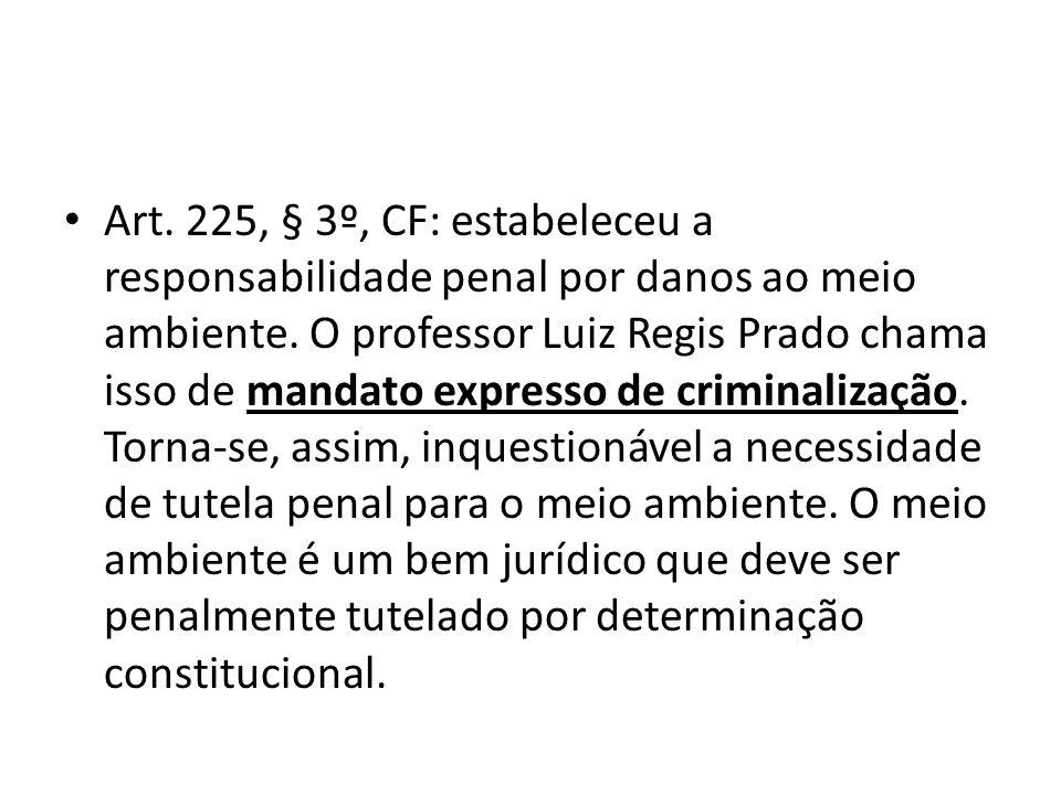 Art. 225, § 3º, CF: estabeleceu a responsabilidade penal por danos ao meio ambiente. O professor Luiz Regis Prado chama isso de mandato expresso de cr