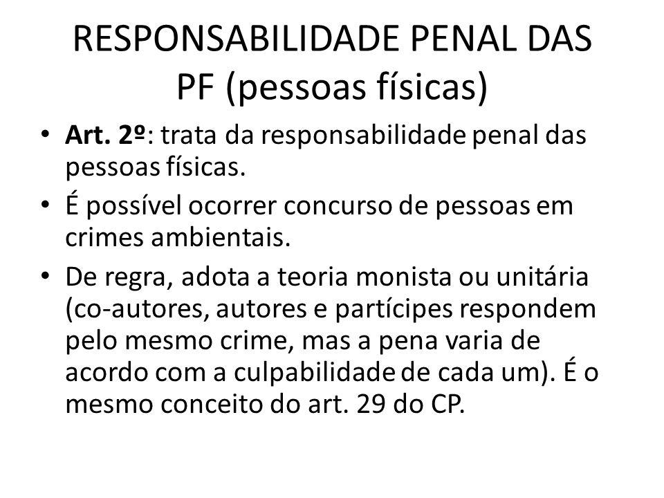RESPONSABILIDADE PENAL DAS PF (pessoas físicas) Art. 2º: trata da responsabilidade penal das pessoas físicas. É possível ocorrer concurso de pessoas e