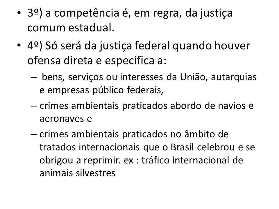 3º) a competência é, em regra, da justiça comum estadual. 4º) Só será da justiça federal quando houver ofensa direta e específica a: – bens, serviços