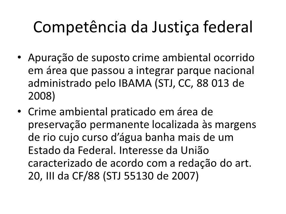 Competência da Justiça federal Apuração de suposto crime ambiental ocorrido em área que passou a integrar parque nacional administrado pelo IBAMA (STJ