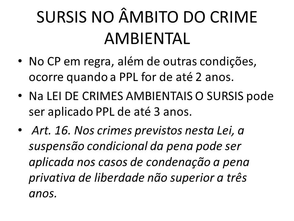 SURSIS NO ÂMBITO DO CRIME AMBIENTAL No CP em regra, além de outras condições, ocorre quando a PPL for de até 2 anos. Na LEI DE CRIMES AMBIENTAIS O SUR