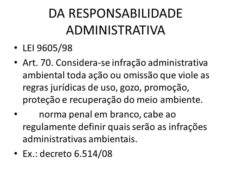 DA RESPONSABILIDADE ADMINISTRATIVA LEI 9605/98 Art. 70. Considera-se infração administrativa ambiental toda ação ou omissão que viole as regras jurídi