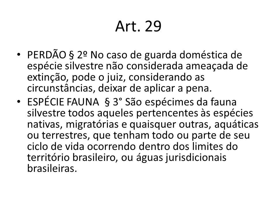 Art. 29 PERDÃO § 2º No caso de guarda doméstica de espécie silvestre não considerada ameaçada de extinção, pode o juiz, considerando as circunstâncias