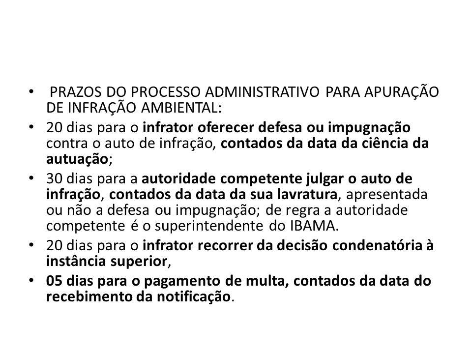 PRAZOS DO PROCESSO ADMINISTRATIVO PARA APURAÇÃO DE INFRAÇÃO AMBIENTAL: 20 dias para o infrator oferecer defesa ou impugnação contra o auto de infração