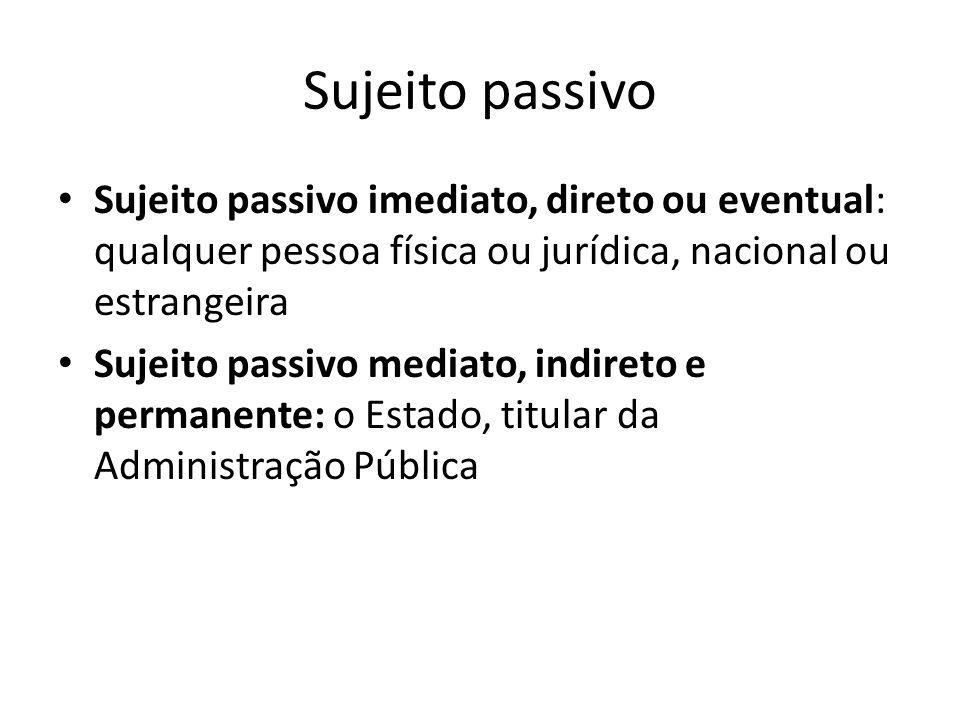 Sujeito passivo Sujeito passivo imediato, direto ou eventual: qualquer pessoa física ou jurídica, nacional ou estrangeira Sujeito passivo mediato, ind
